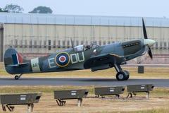 FAIRFORD, UK, JULY 13 2018: A Spitfire Mark 5c lands at RAF Fair royalty free stock image