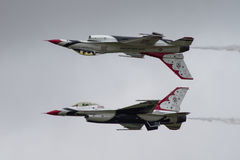 USAF Thunderbirds. FAIRFORD, UK - JULY 2016: Thunderbirds at the Royal International Air Tattoo RIAT royalty free stock images