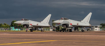 FAIRFORD, UK - JULY 10: Typhoon Aircraft participates in the Royal International Air Tattoo Air show event July 10, 2016 Stock Image