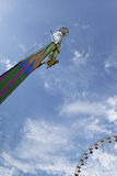 Fairground and blue sky. Ride and big wheel at a fairground in Summer Stock Image