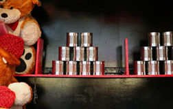Fairground Cans. Fairground Stall with Cans and Prizes Royalty Free Stock Image