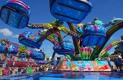 Fairground. Colorful fairground scene in the summer Stock Images