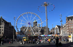 Fairground on Dam square in Amsterdam, Holland Royalty Free Stock Photography