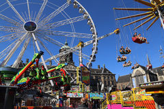 Fairground on Dam square in Amsterdam, Holland Royalty Free Stock Image