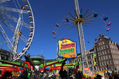 Fairground on Dam square in Amsterdam, Holland Stock Photo