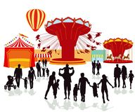 Fairground festival illustration. An illustration of people on a fairground folk festival Royalty Free Stock Image