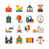 Fairground games and amusement park flat vector icons. Funfair icons set of ferris wheel and amusement park illustration Stock Image