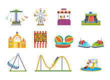 Fairground games, playgrounds and relaxing amusement park. Royalty Free Stock Images