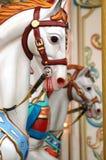 Fairground ride. Horse heads on fairground merry-go-round Stock Images