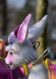 Fairground ride , carousel bunny rabbit. Carousel rabbit / bunny on a fairground ride , close up of the head Royalty Free Stock Photo