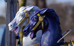 Fairground ride , carousel horses Stock Photos