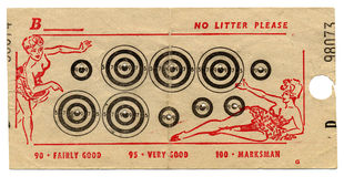 Fairground targets with bullet holes. Vintage fairground targets with bullet holes and illustrations Royalty Free Stock Photo