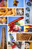 At the fairground. Various colorful images on a fairground collage Royalty Free Stock Images