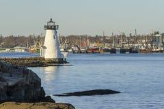 Fairhaven för fyr för ö för Palmer ` s fiskebåtar Royaltyfri Foto