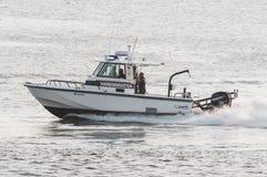 Fairhaven harbormaster heading toward Buzzards Bay royalty free stock image