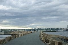 Summer storm approaching New Bedford Royalty Free Stock Images