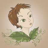 fairie πορτρέτο λουλουδιών διανυσματική απεικόνιση
