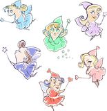 Fairies. Illustration of six funny fairies going to make some magic Stock Photography