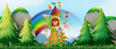 Fairies and castle. Fairies flying around the castle tower Stock Photo