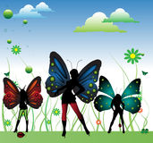 Fairies with colorful wings Stock Photos