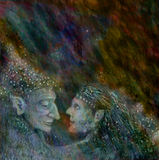 Fairies couple talking to each other, colorful illustration Royalty Free Stock Photo