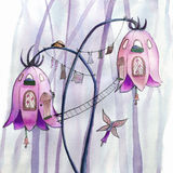 Fairies flowers houses. Watercolor illustration Royalty Free Stock Photos