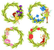 Fairies flying around the flower bouquet Royalty Free Stock Photos