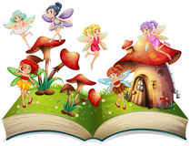 Fairies flying around the mushroom house. Illustration Stock Photography