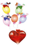 Fairies flying on the balloons Royalty Free Stock Photos