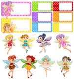 Fairies flying and frame design. Illustration Stock Photos