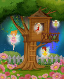 Fairies flying in the garden Royalty Free Stock Image