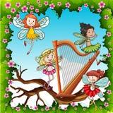 Fairies flying in the garden Stock Photos