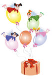 Fairies Flying On Balloons Royalty Free Stock Photo
