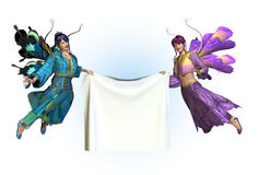 Fairies Holding Blank Banner. 3D render of two colorful flower fairies holding a blank banner Stock Image