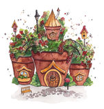 Fairies Houses with flowers. Royalty Free Stock Photography