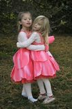 Fairies Hug. 2 little fairy sister happy to see each other Royalty Free Stock Photos