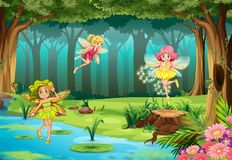 Fairies. Illustration of fairies flying in the jungle Royalty Free Stock Photography