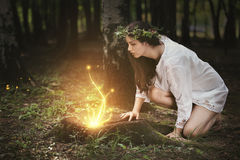 Fairies lights in a magical forest. Beautiful girl staring at fairies in a magical forest . Fantasy concept