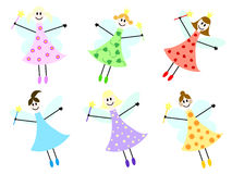Fairies set. A set of six different childish drawn fairy girls Stock Photography