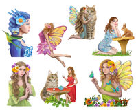 Fairies set Characters for fairy tale. Royalty Free Stock Photography