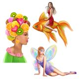 Fairies set Characters for fairy tale. vector illustration