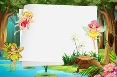 Fairies and sign. Fairies flying in the forest and a blank sign Stock Photos