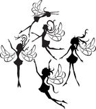 Fairies Silhouettes. Some faities silhouettes isolated on white background Royalty Free Stock Photo