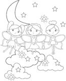 Fairies on the sky coloring page. Useful as coloring book for kids Stock Image