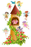 Fairies and tower. Fairies flying around the castle tower Stock Photos