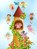 Fairies and tower Stock Images