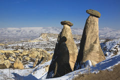 Fairly chimney in Cappadocia. Under snow in the winter time Royalty Free Stock Photo