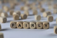 Fairly - cube with letters, sign with wooden cubes Royalty Free Stock Photos