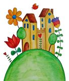 Fairly tale landscape. Artwork, ink and watercolors on paper Stock Images