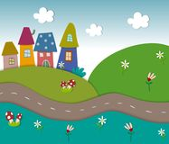 Fairly tale landscape. Colorful graphic illustration for children Stock Images